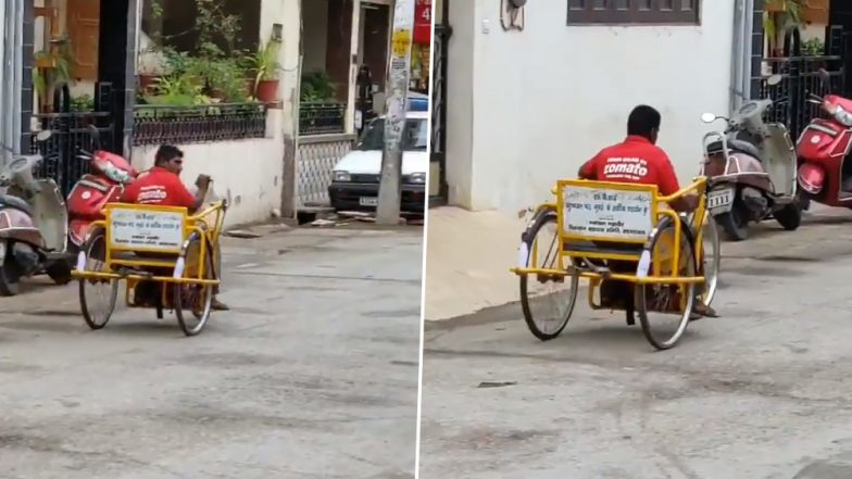 Differently-Abled Zomato Delivery Boy Going Viral for Delivering Food on His Tricycle; Twitterati Inspired and Motivated (Watch video)