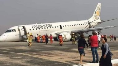 Myanmar National Airlines Plane Lands Without Front Wheel at Mandalay International Airport