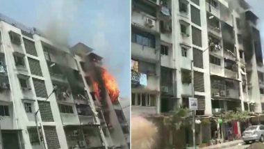 Mumbai Fire: Blaze Engulfs 4th Floor of Sarita Building at Mazil Masjid Chowk in Andheri's Yari Road, Two Injured