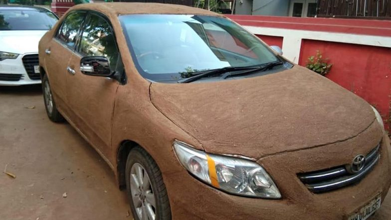 Ahmedabad Woman Smears Cow Dung on Car to Keep It Cool in the Summer Heat (View Pic)