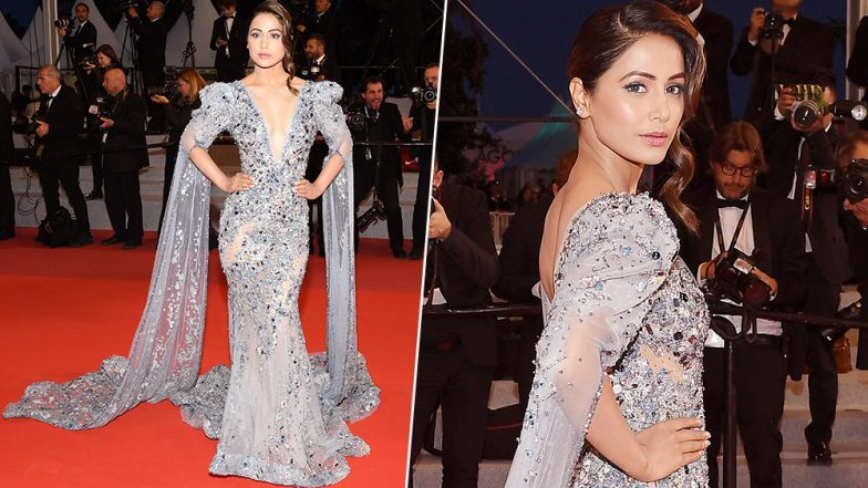 Cannes 2019: Hina Khan Looks Gorgeous in an Embellished Gown With a Plunging Neckline at Her Debut Red Carpet Appearance - See Pics!