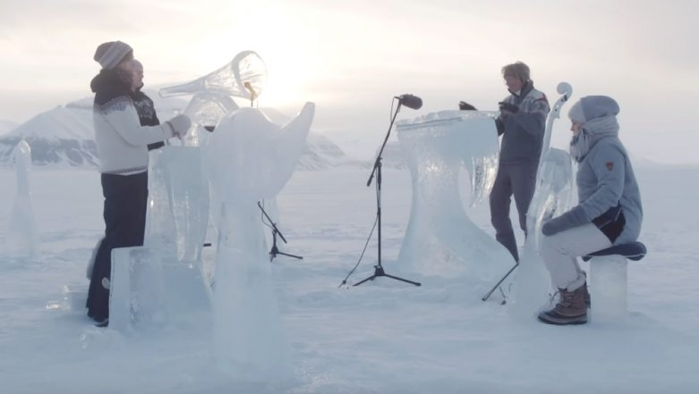 Climate Change Awareness: Musicians Play Instruments Made of Melted Ice at North Pole! (Watch Amazing Video)