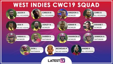 Team West Indies at ICC Cricket World Cup 2019: Squad, Player Profiles of West Indies National Cricket Team for CWC19