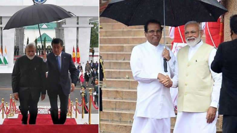 Narendra Modi Touched and Humbled As Presidents of Kyrgyzstan and Sri Lanka Hold Umbrellas for Him; See Pics