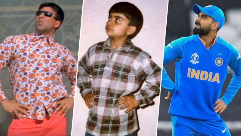 Virat Kohli's Pose During IND vs PAK Match or Akshay Kumar in Phir Hera Pheri, Who Nailed the 'Raju' Pose Better? Check Funny Memes