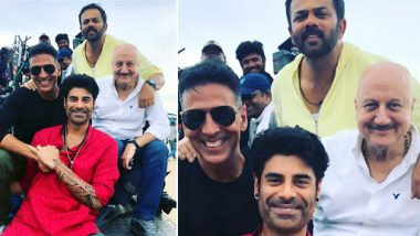 Sooryavanshi: Anupam Kher Visits the Sets; Shares a Still With Akshay Kumar, Rohit Shetty and Son Sikander – See Pic