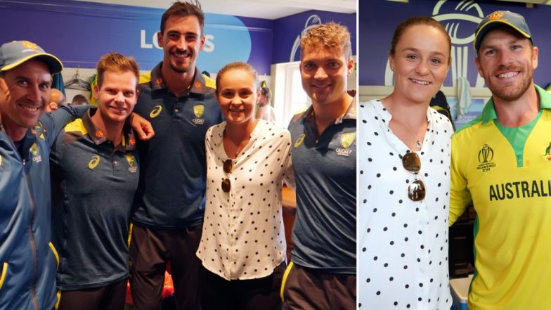 Australian Team Celebrate With World No. 1 Female Tennis Player Ash Barty After Defeating England in ICC CWC 2019 ENG vs AUS Match