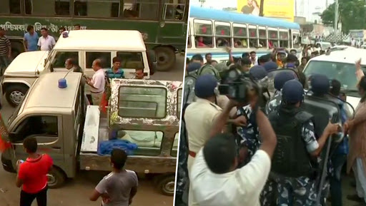 Basirhat Violence Row: MHA Seeks Report From West Bengal Governor, Police Stop BJP Leaders From Taking Remains of Deceased Workers to Party Office
