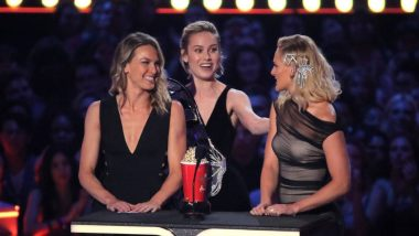 MTV Awards 2019: Captain Marvel Brie Larson Brings Her Stunt Doubles On The Stage While Accepting The Award - Watch Video!
