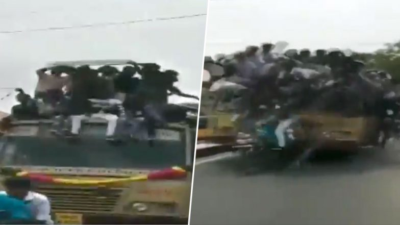 Chennai: College Students Fall Off Moving Buses During Bus Day Celebrations, Watch Video