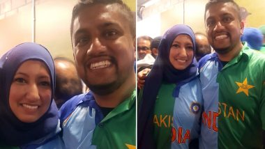 Ind Vs Pak ICC World Cup 2019: Indian-Pakistani Couple Spotted Wearing Customised Blue-Green Jerseys Rooting For 'Peace' (View Pic)