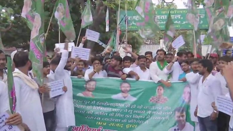 Encephalitis Outbreak in Bihar: RJD Student Wing Protests Against State Govt, Demands Resignation of Health Minister