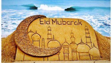 Eid Mubarak 2019 Images and Wishes: Sudarsan Pattnaik Creates Sand Art Wishing Eid; Twitterati Shares Eid al-Fitr Greetings