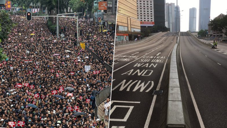 2 Million Hong Kong Protesters Sweep Streets After Gathering to Make Way For Ambulance; Social Media Impressed (Watch Video)