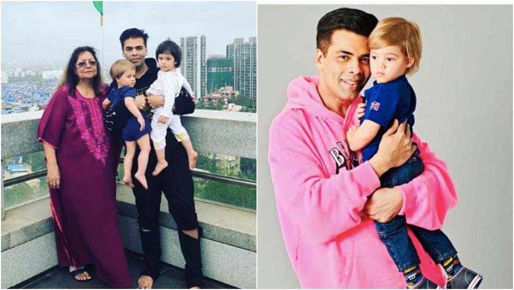 Karan Johar with his kids Yash and Roohi.
