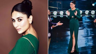 Kareena Kapoor Khan's Diva Look in Bottle Green Thigh-High Slit Gown Will Capture Your Heart Instantly! View Pics