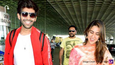 Sara Ali Khan and Kartik Aaryan Can't Control Their Laughter As They Get Snapped At Mumbai Airport! View Pics