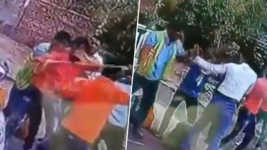 Toll Plaza Violence in Madhya Pradesh: Toll Booth Employees Thrash Passengers With Sticks in Bhonrasa; Watch Video