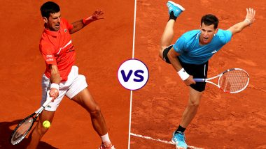 Novak Djokovic vs Dominic Thiem, French Open 2019 Semi-Final Live Streaming: Get Free Live Telecast Online, Match Time in IST and Channel Details in India