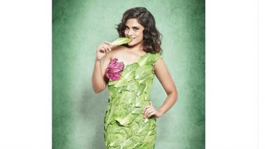 Richa Chadha Celebrates Food Safety Week! Actress Wears a Dress Made Up of Leaves - View Pic