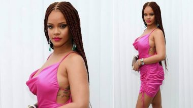 Rihanna Shows Off Gorgeous Thicc Frame in a Pink Silk Dress at Fenty Launch Party (View Pic)
