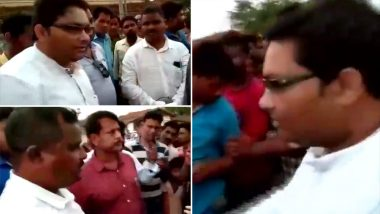 BJD MLA Saroj Kumar Meher Forces PWD Engineer to Do Sit-Ups in Public for Poor Quality of Roads in Odisha's Bolangir; Watch Video