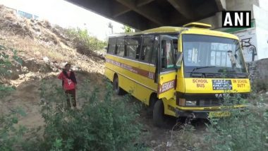 School Bus on Way to Lovely Professional University Falls Off PAP Flyover on Jalandhar-Amritsar Highway, Students Escape with Minor Injuries