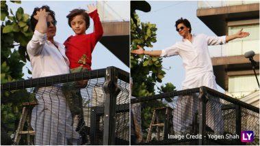 Eid Mubarak 2019 From Shah Rukh Khan, AbRam! View HD Photos of Father-Son Duo Greeting Fans Outside Mannat on Eid al-Fitr