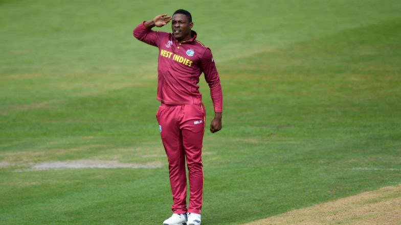 Sheldon Cottrell Salute Celebration Video: Watch Pacer Celebrate in His Unique Style As He Makes Early Inroads During AUS vs WI ICC Cricket World Cup 2019 Match