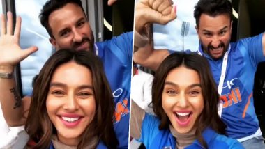 ICC World Cup 2019 India Vs Pakistan: Saif Ali Khan Excitingly Cheers for the 'Men In Blue' With Shibani Dandekar at Old Trafford (Watch Video)