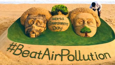 World Environment Day 2019: Sudarsan Pattnaik Creates Artistic Sand Art Urging People to Beat Air Pollution