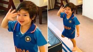 India vs Pakistan CWC19 Match: Cutie Patootie Taimur Ali Khan's Pic Cheering for Indian Cricket Team Will Wipe Off Your Monday Blues!