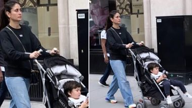 Taimur Ali Khan Enjoys Some Phone-Time While Mom Kareena Kapoor Takes Him Out For a Stroll! View Pic