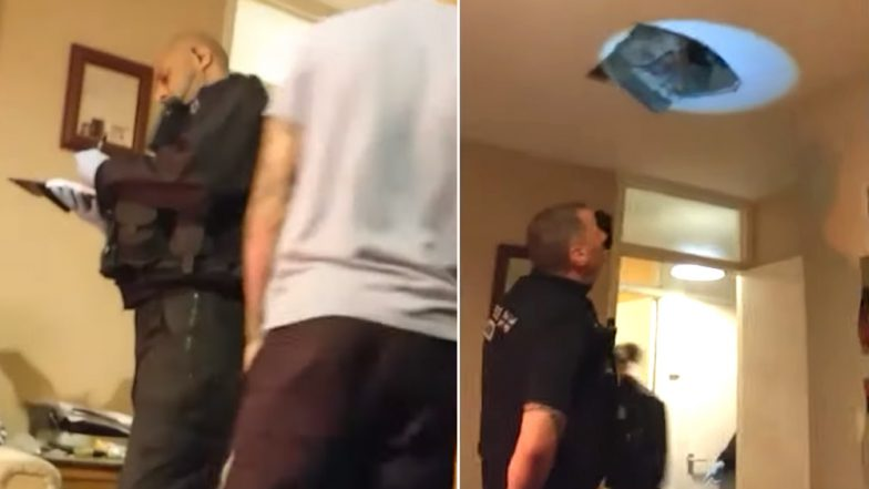 Man Hides From Police in Attic, Funny Viral Video From Rochdale Shows Him Falling In Front of the Cops After the Ceiling Breaks