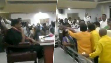 Andhra Pradesh: TDP, YSRCP Leaders Clash on Portraits in Vijayawada Municipal Corporation Meeting, Watch Video