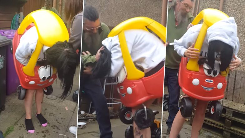 Scotland Woman Gets Herself Stuck In A Toy Car While Playing, Funny Video Of Her -5430
