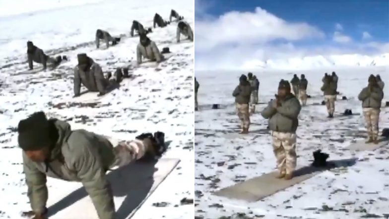 International Day of Yoga 2019: ITBP Jawans Brave Biting Cold to Perform Asanas at 18,000 Feet Altitude in Ladakh Ahead of June 21 (Watch Viral Video)