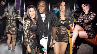 OMG! Cardi B Looks Super-Sultry in Her Boob-Flashing Fishnet Dress for an LA Outing With Offset, Leaves Netizens Thirsty