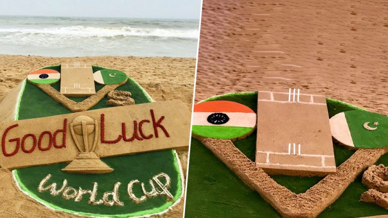 India vs Pakistan, ICC CWC 2019: Artist Sudarsan Pattnaik Is Cheering for Men in Blue With Superb Sand Art at Puri Beach; See Pic