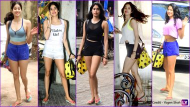 Janhvi Kapoor Gym Looks: Hot Shorts and Crop Tops, Bollywood Actress Rocks Trendiest Workout Gear (See Pics)