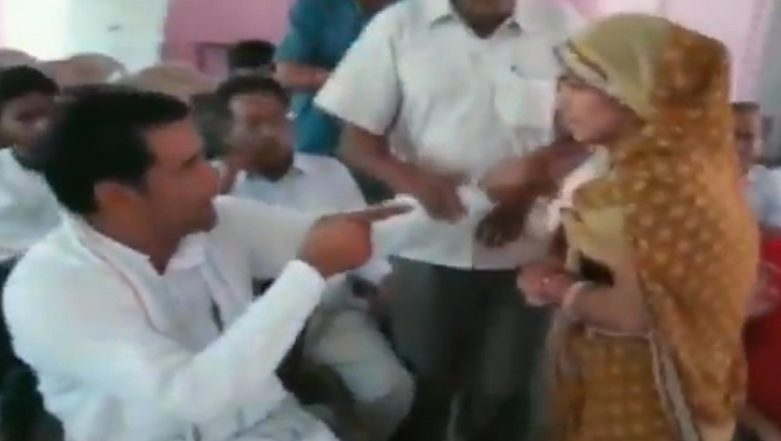 Rajasthan: Panchayat Samiti Member Hansa Verma Hits Male Counterpart Rakesh Kaswan in Jhunjhunu; Watch Video