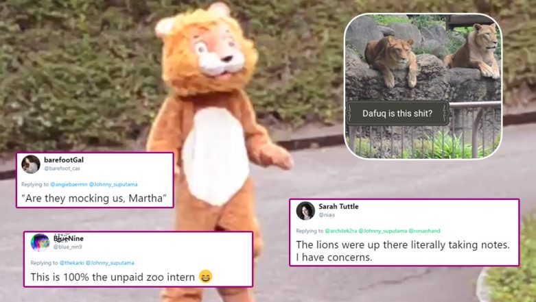 Viral Video of Real Lions Watching 'Escape Lion Drill' With a Man in Furry Suit at Tobe Zoo of Ehime in Japan Becomes Butt of All Jokes on Twitter!