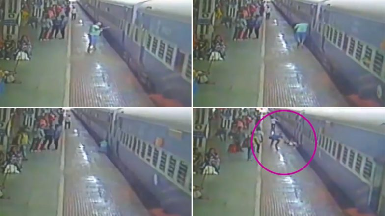 Odisha Miracle: Man Survives After Falling on Tracks Through Gap Between Platform and Train in Jharsuguda; Watch Video