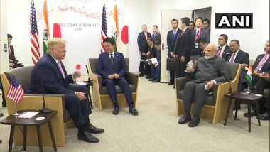 Narendra Modi Holds Trilateral Meeting with Donald Trump, Shinzo Abe in Osaka on sidelines of G20 Summit