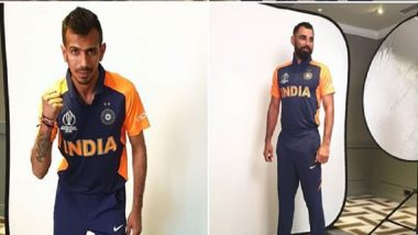 First Pictures: KL Rahul, Mohammed Shami, Other Team India Players Pose In New Orange Away Jersey Ahead of IND vs ENG ICC CWC 2019 Match