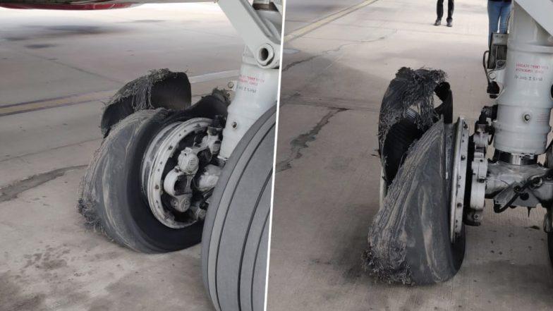 Spicejet Flight From Dubai Suffers Tyre Burst, Makes Emergency Landing at Jaipur Airport - Watch Video