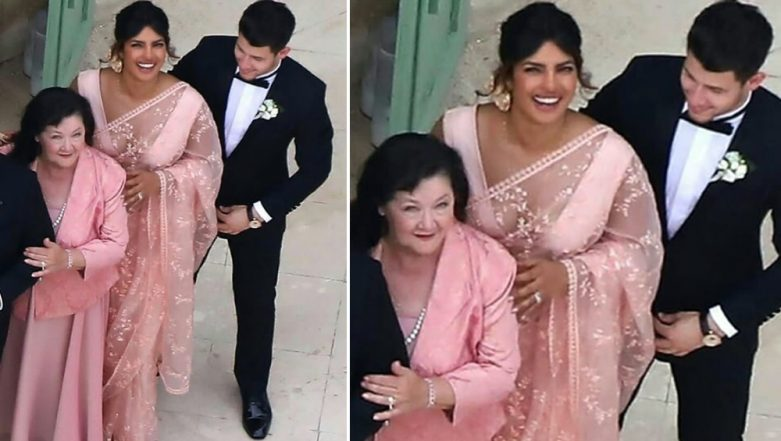 Joe Jonas and Sophie Turner Wedding: Priyanka Chopra Goes Traditional, Steals the Show in a Gorgeous Peach Saree - See Pics