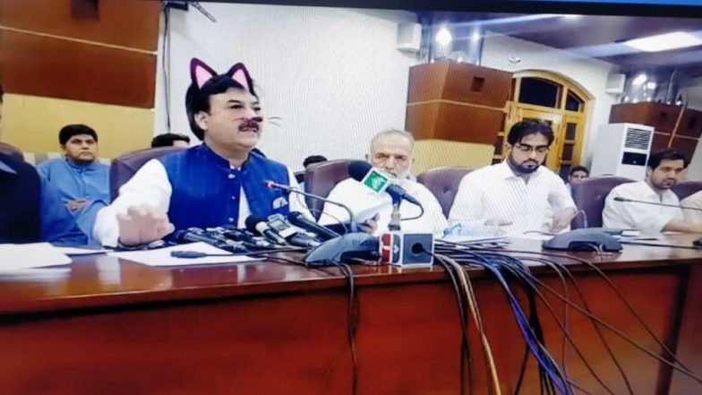 Pakistan Minister Shaukat Yousafzai Accidentally Shown with Cat Ears, Whiskers on Facebook Live Streaming