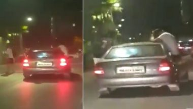 Mumbai Youths Perform Stunts by Leaning Out of Moving Car on Carter Road, Arrested; Watch Video