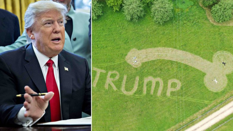 Penis Welcome for Donald Trump Near Airport During UK Visit as Part of Climate Change Protest